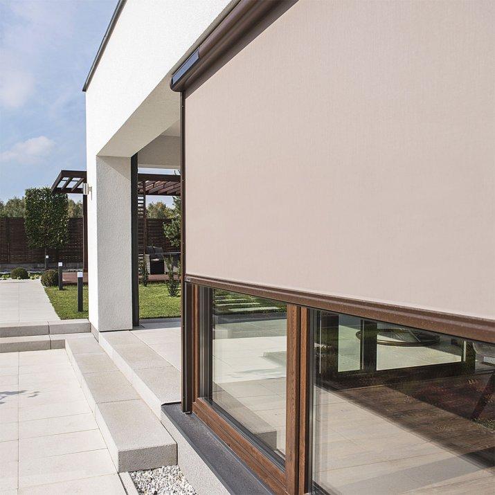Materiał markizy możemy dopasować doelewacji budynku